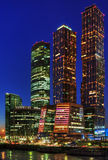 Night skyscrapers of Moscow Stock Images