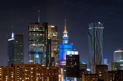 Night Skyscrapers in Warsaw Stock Images