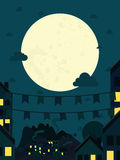 Night small town with big moon. Vector illustration stock illustration