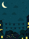 Night small town with moon Stock Image