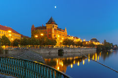 Night Smetanovo waterfront in Prague, Czech Republic Royalty Free Stock Photos