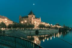 Night Smetanovo waterfront in Prague, Czechia Stock Image