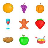 Night snack  icons set, cartoon style Royalty Free Stock Photo