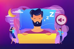 Night snoring concept vector illustration. royalty free illustration