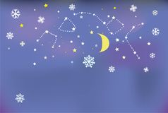 Night snow banner with stars and moon. Background for the Chrismas card or cover Stock Photo