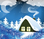 Night snow-covered hut Stock Photo