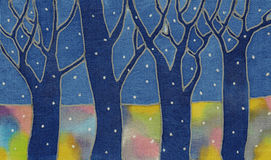 Night snow forest Stock Photo