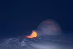 Night and snow igloo Royalty Free Stock Photo