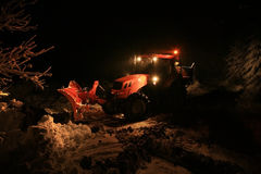 Night snow plow Stock Image