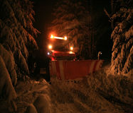 Night snow plow Royalty Free Stock Photo
