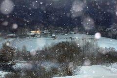 Night Snow Village Christmas Royalty Free Stock Photography