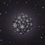Night Snowball with snowflake texture and black background royalty free stock photo