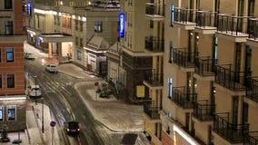 Night snowfall at Rosa Valley in Rosa Khutor stock video