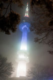 Night snowfall view of Namsan tower of Seoul Royalty Free Stock Photo