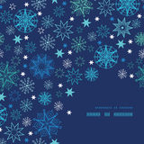 Night snowflakes frame corner pattern background Stock Images