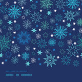 Night snowflakes horizontal border frame seamless Royalty Free Stock Photography