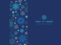 Night snowflakes horizontal frame seamless pattern Royalty Free Stock Photography
