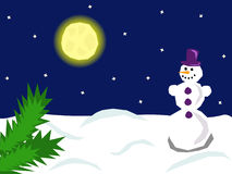 Night snowman. A cute smiling snowman standing under the moonlight Stock Photo