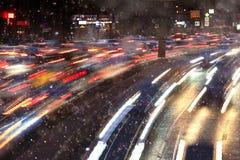 Night snowy blur traffic Stock Photo