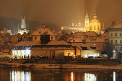 Night snowy Prague St. Nicholas' Cathedral Royalty Free Stock Photos