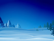 Night snowy scene with ridge and christmas trees Royalty Free Stock Images