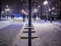 Night snowy winter landscape in the alley of city park. With walking people Royalty Free Stock Image