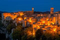 Night Sorano and Street Lights. Italy. Tuscany. Sorano. A small medieval town on a cliff. Night city lights stock photos