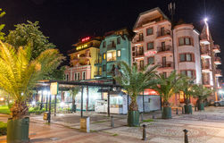 Night Spa-St. George hotel in the centre of old Pomorie in Bulgaria royalty free stock image