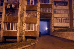 Night span in the building. Scary span in the fog at night royalty free stock image