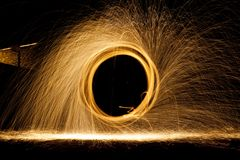 NIGHT SPARKS FIRE stock image