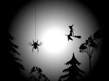 Night, spider and witch Stock Images