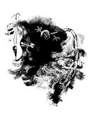 Night spirits. Fantasy on the theme of ghosts and spirits. Black ink on the white background Royalty Free Stock Images