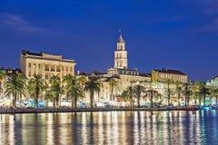 Night Split city, Croatia. Diocletian Palace, Saint Domnius cath Stock Image