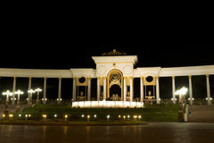 Night square. New modern square in almaty, kazakhstan, at night Royalty Free Stock Image