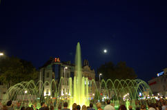 Night square fountains attraction Stock Photo