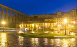 Night square at Segovia and Roman Aqueduct Stock Photos