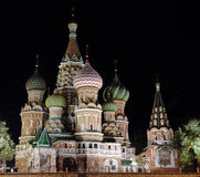 Night St. Basil Cathedral Stock Photos