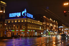 Night of St. Petersburg, Nevsky Prospect. Royalty Free Stock Image