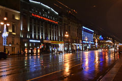 Night of St. Petersburg, Nevsky Prospect. Stock Images