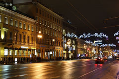 Night of St. Petersburg, Nevsky Prospekt Royalty Free Stock Photo