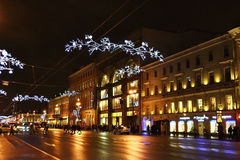 Night of St. Petersburg, Nevsky Prospekt Royalty Free Stock Image