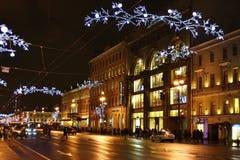 Night of St. Petersburg, Nevsky Prospekt royalty free stock image
