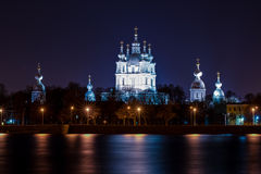 Smolny cathedral on Neva embakment in Saint Petersburg. A quiet summer night in the city Stock Image