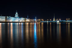Night Saint-Petersburg, Russia. University embankment. A quiet summer night in the city. Saint-Petersburg, Russia, Europe Stock Photos