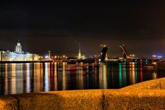 Night St. Petersburg and river Neva Stock Photos