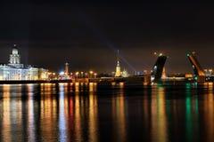 Night St. Petersburg and river Neva Stock Image