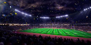 Night stadium arena Football field championship win.blue toning Royalty Free Stock Photo