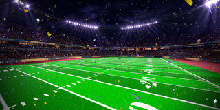 Night stadium arena Football field championship win.blue toning Royalty Free Stock Images