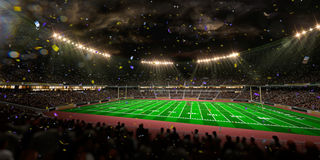 Night stadium arena Football field championship win. Stock Photography