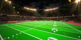 Night stadium arena Football field championship win. Stock Photos